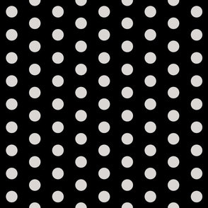 Polka Dots - 1 inch (2.54cm) - Grey (#d9d6d4) on Black (#000000)
