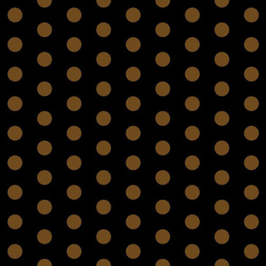 Polka Dots - 1 inch (2.54cm) - Brown (#6e4a1c) on Black (#000000)