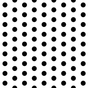 Polka Dots - 1 inch (2.54cm) - Black (#000000) on White (#FFFFFF)