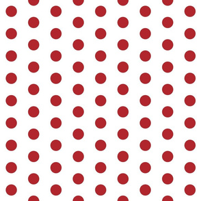 Polka Dots - 1 inch (2.54cm) - Red (#B1252C) on White (FFFFF)