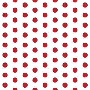 Polka Dots - 1 inch (2.54cm) - Red (#B1252C) on White (FFFFF)
