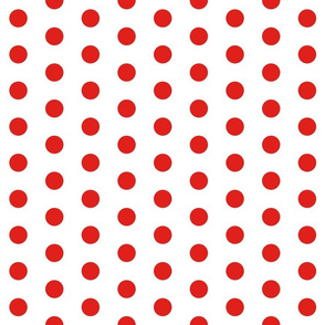 Polka Dots - 1 inch (2.54cm) - Red (#E0201B) on White (FFFFF)