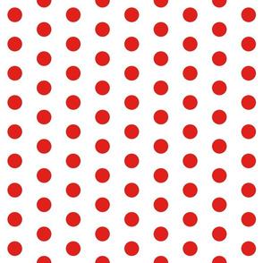 Polka Dots - 1 inch (2.54cm) - Red (#E0201B) on White (FFFFF)