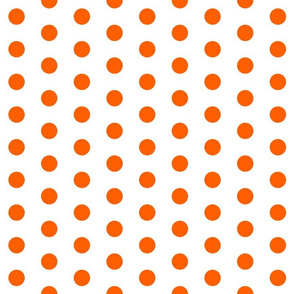 Polka Dots - 1 inch (2.54cm) - Orange (#FF5F00) on White (FFFFF)