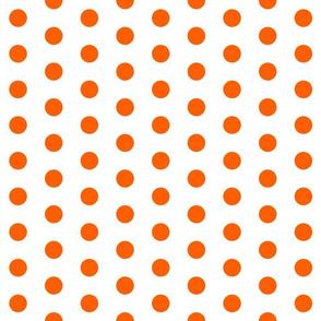 Polka Dots - 1 inch (2.54cm) - Orange (#FF5F00) on White (FFFFF)