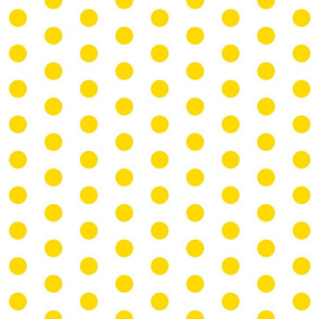 Polka Dots - 1 inch (2.54cm) - Yellow (#FFD900) on White (FFFFF)