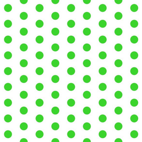 Polka Dots - 1 inch (2.54cm) - Pale Green (#3AD42D) on White (FFFFF)