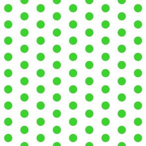Polka Dots - 1 inch (2.54cm) - Pale Green (#3AD42D) on White (FFFFF)