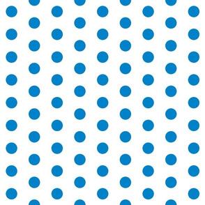 Polka Dots - 1 inch (2.54cm) - Light Blue (#0081C8) on White (FFFFF)