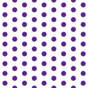 Polka Dots - 1 inch (2.54cm) - Purple (#5E259B) on White (FFFFF)