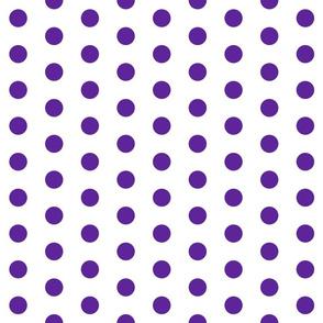 Polka Dots - 1 inch (2.54cm) - Purple (#5E259B) on White (FFFFF)
