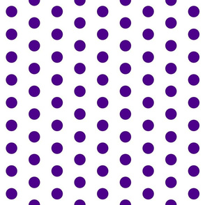 Polka Dots - 1 inch (2.54cm) - Dark Purple (#4D008A) on White (FFFFF)