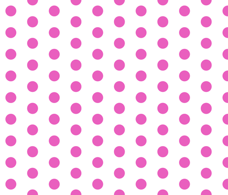 Polka Dots - 1 inch (2.54cm) - Light Pink (#E95FBE) on White (FFFFF) fabric by elsielevelsup on Spoonflower - custom fabric