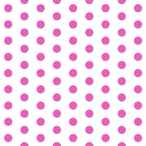 Polka Dots - 1 inch (2.54cm) - Light Pink (#E95FBE) on White (FFFFF)