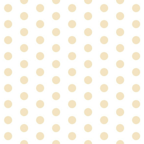 Polka Dots - 1 inch (2.54cm) - Cream (#F3E3C0) on White (FFFFF)