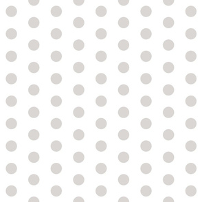 Polka Dots - 1 inch (2.54cm) - Pale Grey (#D9D6D4) on White (FFFFF)