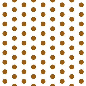 Polka Dots - 1 inch (2.54cm) - Brown (#995E13) on White (FFFFF)