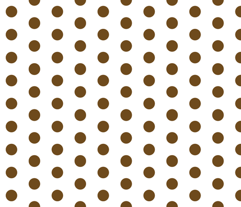 Polka Dots - 1 inch (2.54cm) - Brown (#6E4A1C) on White (FFFFF) fabric by elsielevelsup on Spoonflower - custom fabric