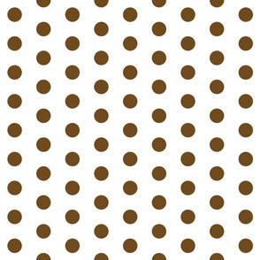 Polka Dots - 1 inch (2.54cm) - Brown (#6E4A1C) on White (FFFFF)