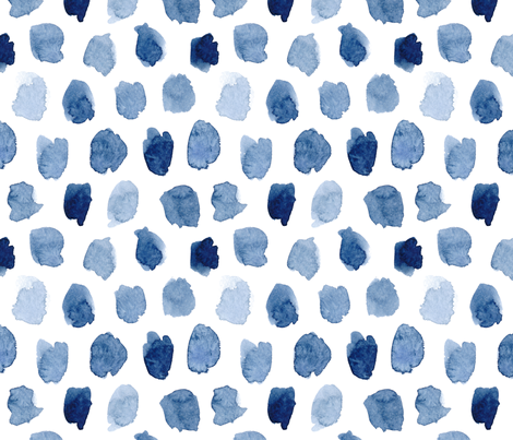 Watercolor Abstract Shapes in Blue fabric by dinaramay on Spoonflower - custom fabric