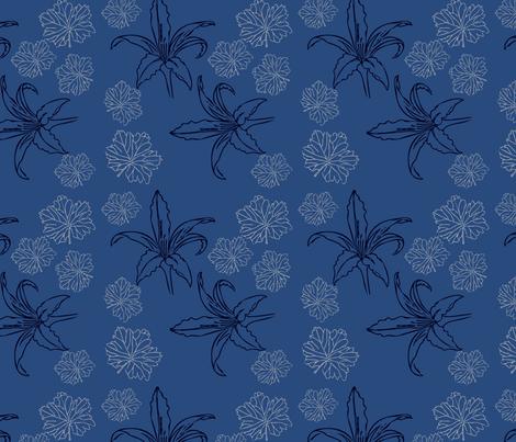 Lily and Geranium Leaf Blue fabric by ckgtw on Spoonflower - custom fabric