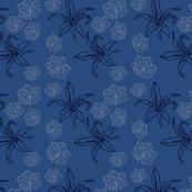 Lily and Geranium Leaf Blue
