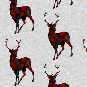 "10"" Painted Deer - red and black on grey linen"
