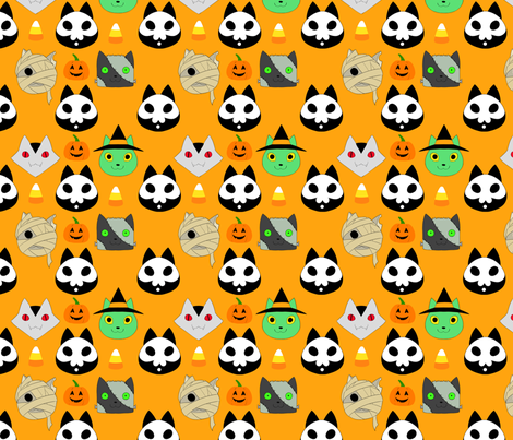 Kitty-ween fabric by yasosume on Spoonflower - custom fabric