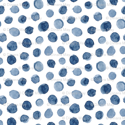 Watercolor Polka Dot in Blue