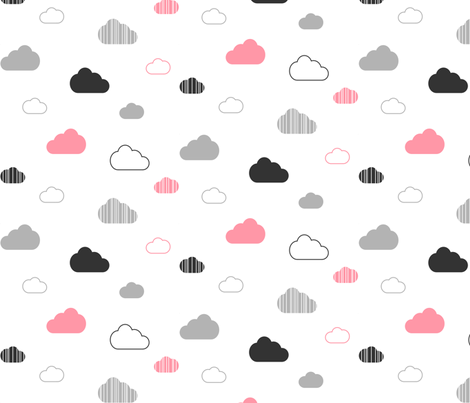 Gray Charcoal Coral Clouds on White fabric by cavutoodesigns on Spoonflower - custom fabric