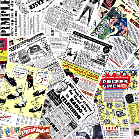 vintage comic book ads - LARGE PRINT fabric by janbalaya on Spoonflower - custom fabric