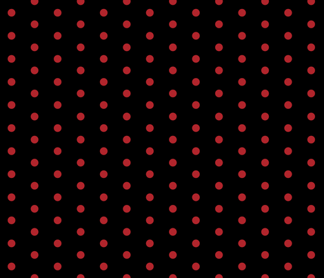 Polk Dots - 0.5 inch (1.27 cm) - Red (#B1252C) on Black (#000000) fabric by elsielevelsup on Spoonflower - custom fabric