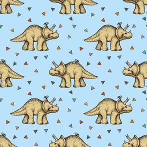Triceratops and Triangles on blue, small