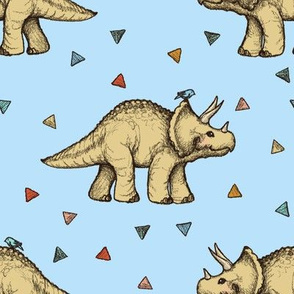 Triceratops and Triangles on blue, large