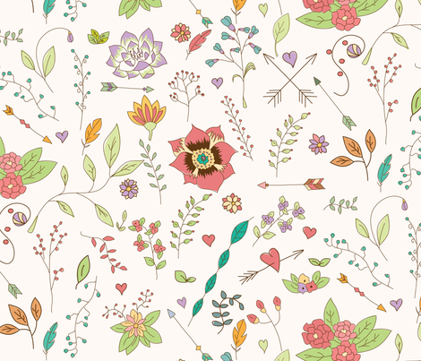 Bohemian hand drawn flowers fabric by bluelela on Spoonflower - custom fabric
