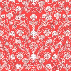 lotus damask bright coral