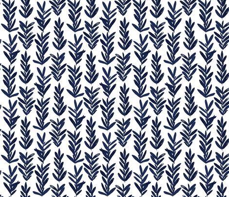 Sage Smaller -Indigo  fabric by jillbyers on Spoonflower - custom fabric