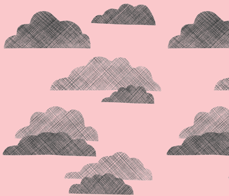 Clouds in Pink fabric by christina_rowe on Spoonflower - custom fabric