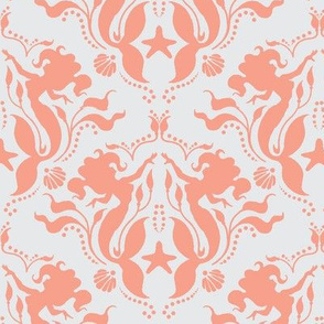 Mermaid Damask - Coral Solid