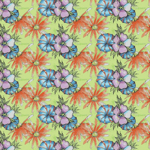 bright tropical flowers