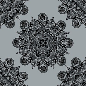 fortune mandala bluish gray #9da5a8