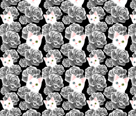 Sesshoumaru's Roses, black flavor fabric by bliss_and_kittens on Spoonflower - custom fabric