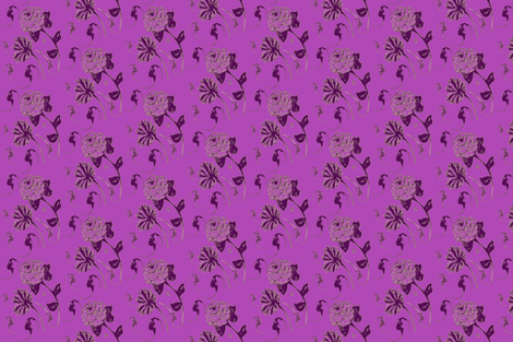 Purple, plum, magenta bats and flowers fabric by leorblaka on Spoonflower - custom fabric