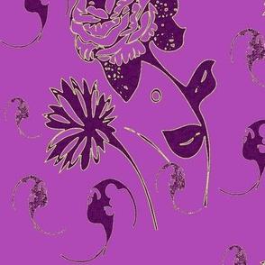 Purple, plum, magenta bats and flowers