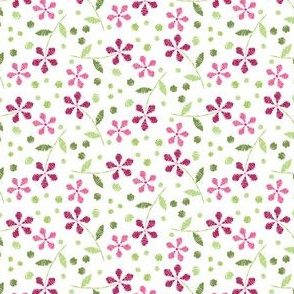 Crayon Flowers Hex Pink Green