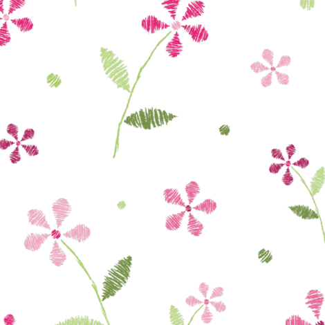 Crayon Flowers Pink Green fabric by wickedrefined on Spoonflower - custom fabric
