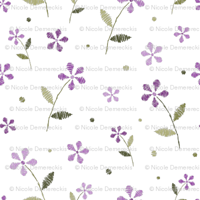 Crayon Flowers Purple Olive