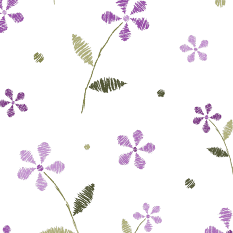 Crayon Flowers Purple Olive fabric by wickedrefined on Spoonflower - custom fabric