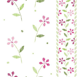Crayon Flowers Stripes Pink Green