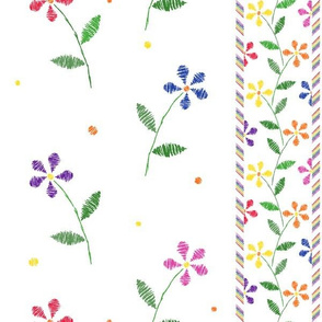 Crayon Flowers Stripes Rainbow